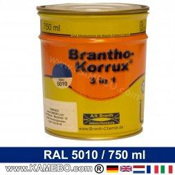 BRANTHO-KORRUX 3in1 Rostschutzlack RAL 5010 Enzianblau 750 ml