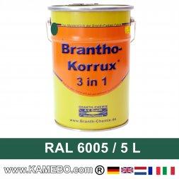 BRANTHO-KORRUX 3in1 Rostschutzlack RAL 6005 Moosgrün 5 Liter