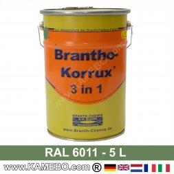 BRANTHO-KORRUX 3in1 Rostschutzlack RAL 6011 Resedagrün 5 Liter