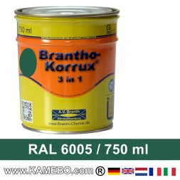 BRANTHO-KORRUX 3in1 Peinture Antirouille RAL 6005 Vert mousse 750 ml
