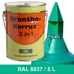 BRANTHO-KORRUX 3in1 Anti-Rust Coating RAL 6037 Pure green 5 Liters