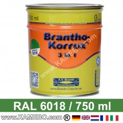 BRANTHO-KORRUX 3in1 Anti-Rust Coating RAL 6018 Yellow green 750 ml