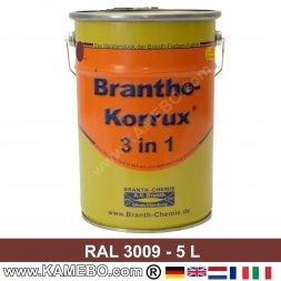 BRANTHO-KORRUX 3in1 Rostschutzlack RAL 3009 Rotbraun 5 Liter