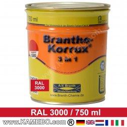 BRANTHO-KORRUX 3in1 Rostschutzlack RAL 3000 Feuerrot / Siegelrot 750 ml