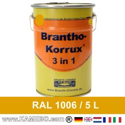 BRANTHO-KORRUX 3in1 Rostschutzlack RAL 1006 Maisgelb 5 Liter