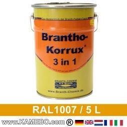 BRANTHO-KORRUX 3in1 Rostschutzlack RAL 1007 Narzissengelb 5 Liter