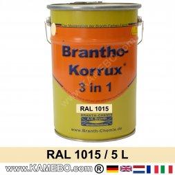 BRANTHO-KORRUX 3in1 Rostschutzlack RAL 1015 Hellelfenbein 5 Liter