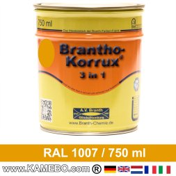 BRANTHO-KORRUX 3in1 Anti-Rust Coating RAL 1007 Daffodil yellow 750 ml