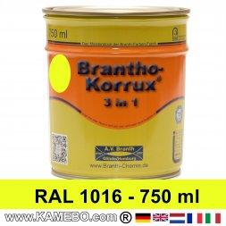 BRANTHO-KORRUX 3in1 Rostschutzlack RAL 1016 Schwefelgelb 750 ml