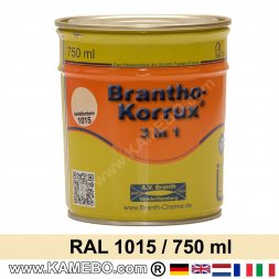 BRANTHO-KORRUX 3in1 Anti-Rust Coating RAL 1015 Light ivory 750 ml