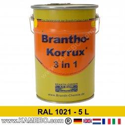 BRANTHO-KORRUX 3in1 Rostschutzlack RAL 1021 Rapsgelb 5 Liter
