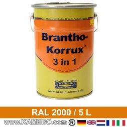 BRANTHO-KORRUX 3in1 Rostschutzlack RAL 2000 Gelborange 5 Liter