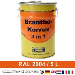 BRANTHO-KORRUX 3in1 Rostschutzlack RAL 2004 Reinorange 5 Liter