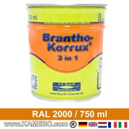 BRANTHO-KORRUX 3in1 Anti-Rust Coating RAL 2000 Yellow orange 750 ml