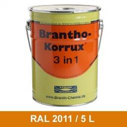 BRANTHO-KORRUX 3in1 Vernice Antiruggine RAL 2011 Arancio profondo 5 Litri