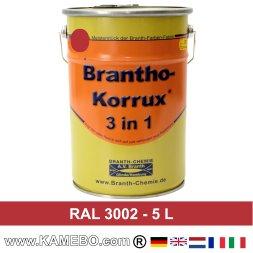 BRANTHO-KORRUX 3in1 Rostschutzlack RAL 3002 Karminrot 5 Liter