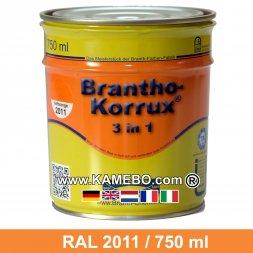 BRANTHO-KORRUX 3in1 Rostschutzlack RAL 2011 Tieforange 750 ml