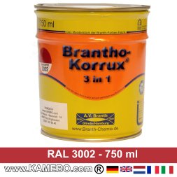 BRANTHO-KORRUX 3in1 Vernice Antiruggine RAL 3002 Rosso carminio 750 ml