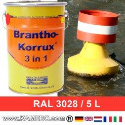 BRANTHO-KORRUX 3in1 Rostschutzlack RAL 3028 Tonnenrot / Reinrot 5 Liter