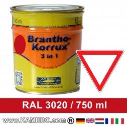 BRANTHO-KORRUX 3in1 Rostschutzlack RAL 3020 Verkehrsrot 750 ml