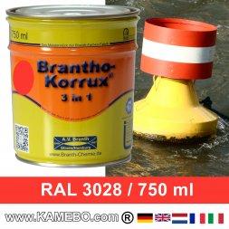 BRANTHO-KORRUX 3in1 Rostschutzlack RAL 3028 Tonnenrot / Reinrot 750 ml