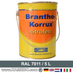 BRANTHO-KORRUX NITROFEST Korrosionsschutzlack RAL 7011 Eisengrau 5 Liter