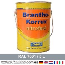 BRANTHO-KORRUX NITROFEST Korrosionsschutzlack RAL 7001 Silbergrau 5 Liter