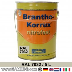 BRANTHO-KORRUX NITROFEST Korrosionsschutzlack RAL 7032 Kieselgrau 5 Liter