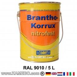 BRANTHO-KORRUX NITROFEST Korrosionsschutzlack RAL 9010 Weiss 5 Liter