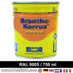 BRANTHO-KORRUX NITROFEST Anti-Rust Coating RAL 9005 Jet black 750 ml
