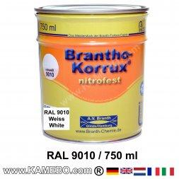 BRANTHO-KORRUX NITROFEST Korrosionsschutzlack RAL 9010 Weiss 750 ml